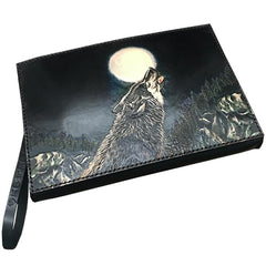 Black Handmade Tooled Leather Wolf Clutch Wallet Wristlet Bag Clutch Purse For Men