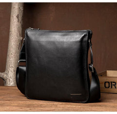 Black Leather 10 inches Mens Small Vertical Messenger Bags Postman Bags Courier Bag for Men