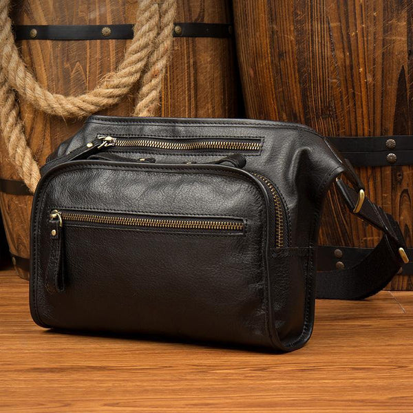 Black Leather Fanny Pack Mens Waist Bag Hip Pack Belt Bags Bumbag for Men