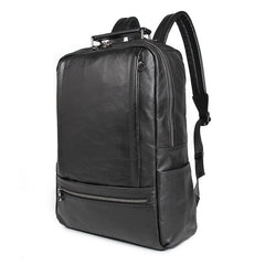 Black Leather Men's 14 inches Large Computer Backpack Black Large Travel Backpack Black Large College Backpack For Men