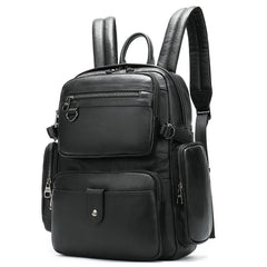 Black Leather Men's 14 inches Large Computer Backpack Large Black Travel Backpack Black Large College Backpack For Men