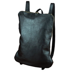 Black Leather Men's 15.6 inches Computer Backpack Travel Backpack Black Large College Backpack For Men