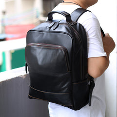 Black Leather Men's 15 inches Computer Backpack Travel Backpack Black Large College Backpack For Men
