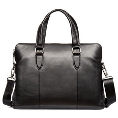 Black Leather Mens 13inches Briefcase Laptop Briefcase Shoulder Business Bags Work Bag for Men
