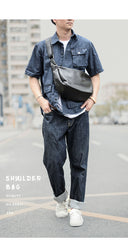 Black Leather Mens Saddle Courier Bag Messenger Bag Black Postman Bag For Men