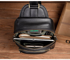 Black Leather Mens Cool Sling Bags Crossbody Pack Black One Shoulder Backpack Chest Bags for men