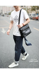 Casual Black Leather Mens Courier Bags Messenger Bags Brown Postman Bags For Men