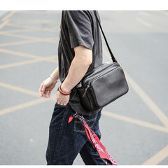 Black Leather Mens Casual Small Courier Bags Messenger Bag Dark Coffee Postman Bags For Men