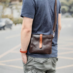 Black Leather Mens Casual Small Courier Bags Messenger Bags Belt Bag Postman Bag For Men