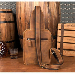 Cool Brown Leather Mens One Shoulder Backpack Sling Bag Brown Crossbody Pack Chest Bag for men