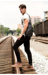 Black Leather Mens Cool Crossbody Pack Sling Bags Black Sling Pack Chest Bag for Men