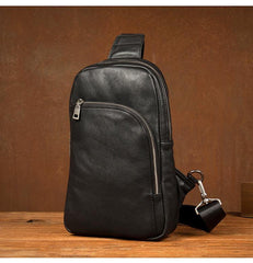 Black Leather Mens Cool Sling Bag Sling Pack Brown ONe Shoulder Backpack Chest Bag for men