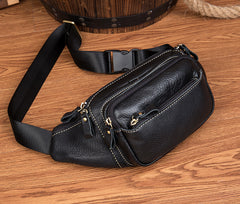 Black Leather Mens Fanny Pack Dark Brown Waist Bag Hip Pack Belt Bag Bumbag for Men