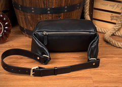 Black Leather Mens Fanny Pack Waist Bag Hip Pack Blue Belt Bag Bumbags for Men