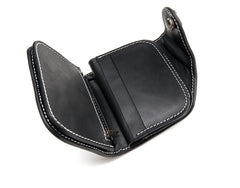 Black Leather Mens billfold Biker Wallet Bifold Small Biker Chain Wallet For Men