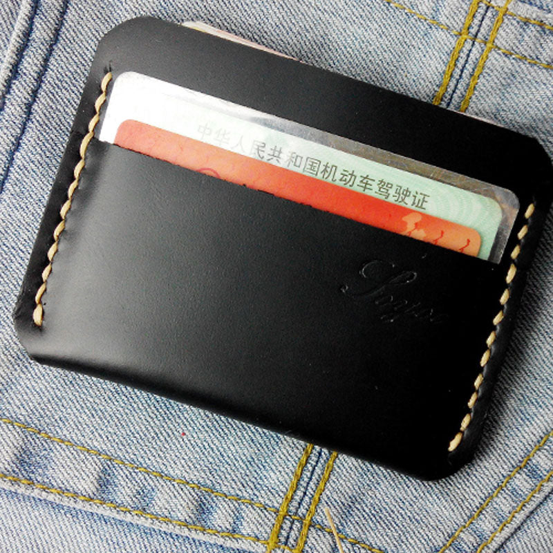 Black Leather Mens Slim Front Pocket Wallets Leather Cards Wallet for Men