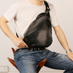 Black Leather Mens Sling Bag Sling Shoulder Bag Sling Backpack for men
