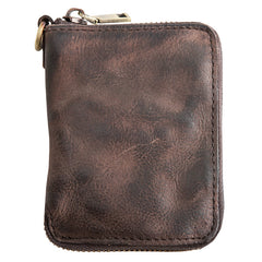 Black Leather Mens Small Card Wallet Front Pocket Wallet Brown Zipper Coin Short Wallet For Men