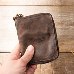 Black Leather Mens Small Card Wallet Front Pocket Wallet Brown Zipper Coin billfold Wallet For Men