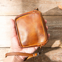 Brown Leather Mens Small Key Case Black Key Holder Coin Purse Card Holder For Men