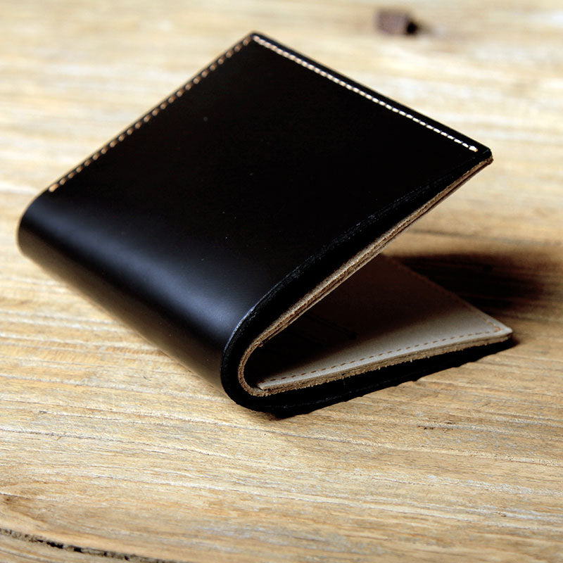 Black Leather Mens Small Wallet Bifold Wallet for Men