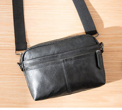 Fashion Black Small Leather Mens Side Bag Black Mini Courier Bag Messenger Bags POstman Bag for Men