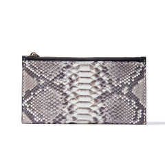 Black Snakeskin Leather Mens Slim Long Wallet Bifold Zipper Clutch Wallet For Men