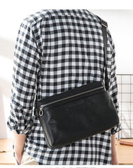 Black Soft Leather Mens 10 inches Courier Bag Postman Bag Black Messenger Bags Side Bag for Men