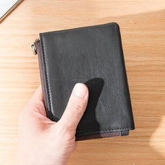 Black Soft Leather Mens Small Wallet Brown Coin Wallet Front Pocket Wallet Short Wallet for Men
