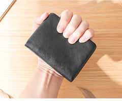 Black Soft Leather Mens Small Wallet Multicard Wallet Bifold Vintage Ultra Thin Short Wallet for Men