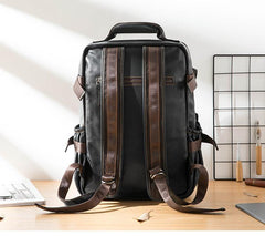 Cool Black Leather Mens 13-inch Computer Backpacks Business Black Travel Backpacks College Backpack for men