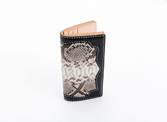 Cool Black Snakeskin Leather Mens Long Wallet Handmade Bifold Long Wallet For Men