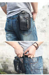 Black Vintage Leather Mens Belt Pouch Belt Bag Hip Pouch Waist Bags Dark Brown For Men