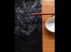 Black Handmade Tooled Japanese Samurai Skull Leather Mens Long Wallet Bifold Long Wallet For Men