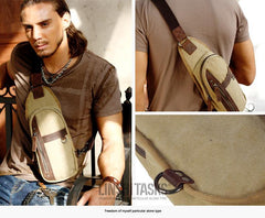Blue Canvas Sling Backpack Men's Sling Bag Khaki Chest Bag Canvas One shoulder Backpack For Men
