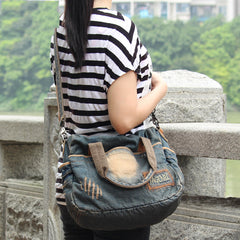 Blue Denim Mens Womens Casual Large Handbag Messenger Bags Jean Handbags Shoulder Bag For Men