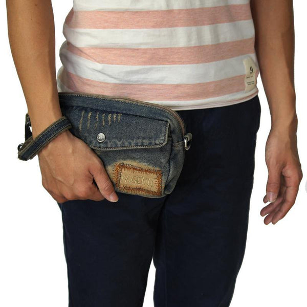 Blue Denim Mens Casual Small Messenger Bags Jean Clutch Bag Courier Bag For Men