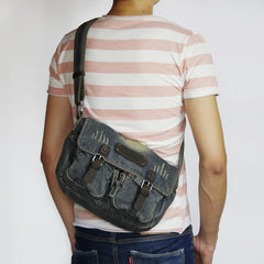 Blue Denim Mens Casual 10 inches Messenger Bag Jean Small Postman Bag Courier Bag For Men