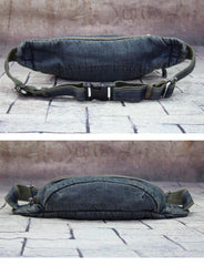 Blue Denim Mens Casual Waist Bag Fanny Pack Blue Jean Hip Bag Bum Bag For Men