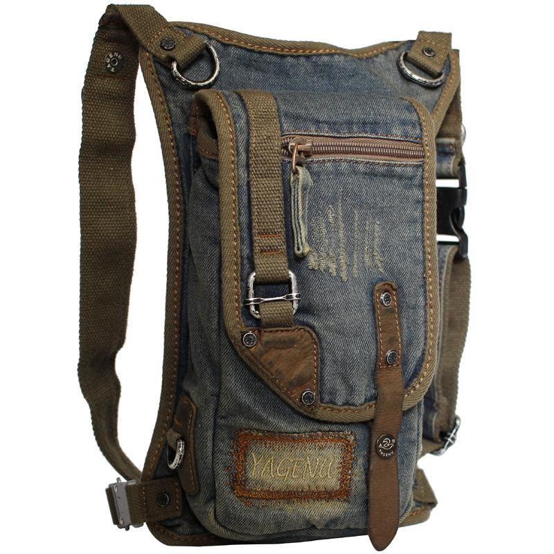 Blue Denim Canvas Mens Biker Waist Bag DropLeg Bag Belt Pouch Small Messenger Bag For Men