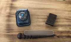 Handmade Mens Blue Leather Classic Zippo Lighter Case Belt Zippo Lighter Holder with Belt Loop