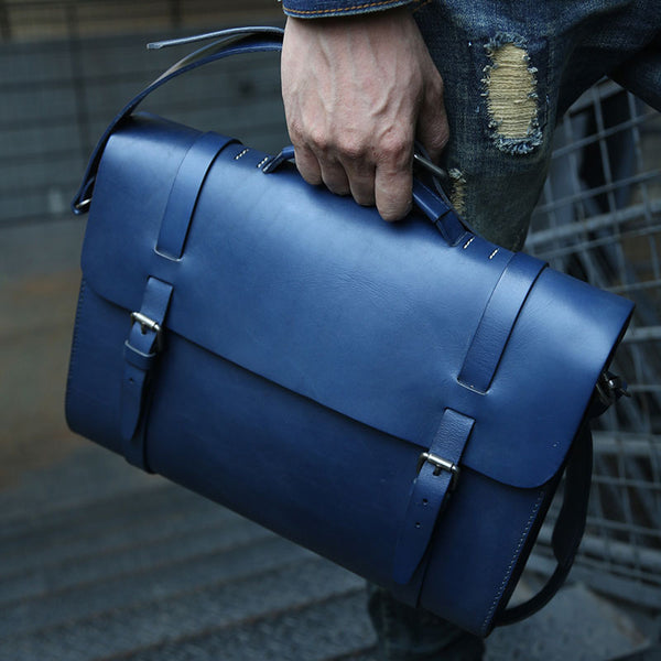 Blue Leather Mens Briefcase Messenger Bag Handbag Shoulder Bag for men