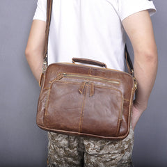Brown Cool Leather Small Vertical Side Bag Briefcase Messenger Bag Brown Handbag Shoulder Bag For Men