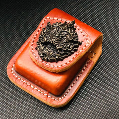 Brown Handmade Leather Mens Chinese Dragon Zippo Lighter Holders Lighter Case For Men