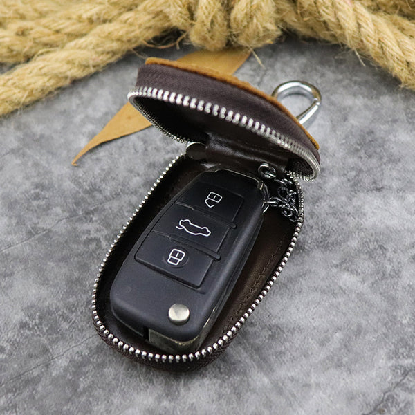 Brown Leather Men's Car Key and Oval Wallet Zipper Car Key Case Car Holder For Men