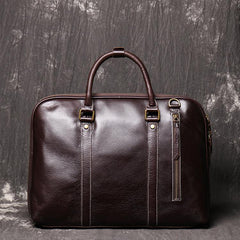 Brown Leather Mens Business 15.6 inches Laptop Work Briefcase Handbag Briefcase Business Bags For Men