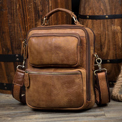 Brown Casual Leather 10 inches Shoulder Bags Messenger Bag Crossbody Bag for Men