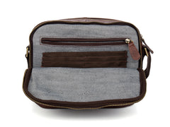 Casual Dark Brown Leather 8 inches Small Messenger Bag Side Bag Postman Bag for Men