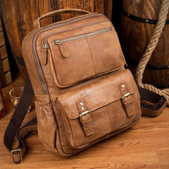 Casual Brown Leather Mens 14 inches Travel School Backpacks Computer Backpack for Men