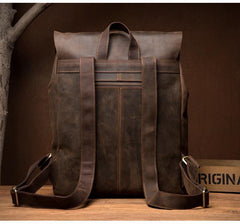 Casual Brown Mens Leather 15-inch Large Backpack Travel Backpacks Computer Backpacks for men